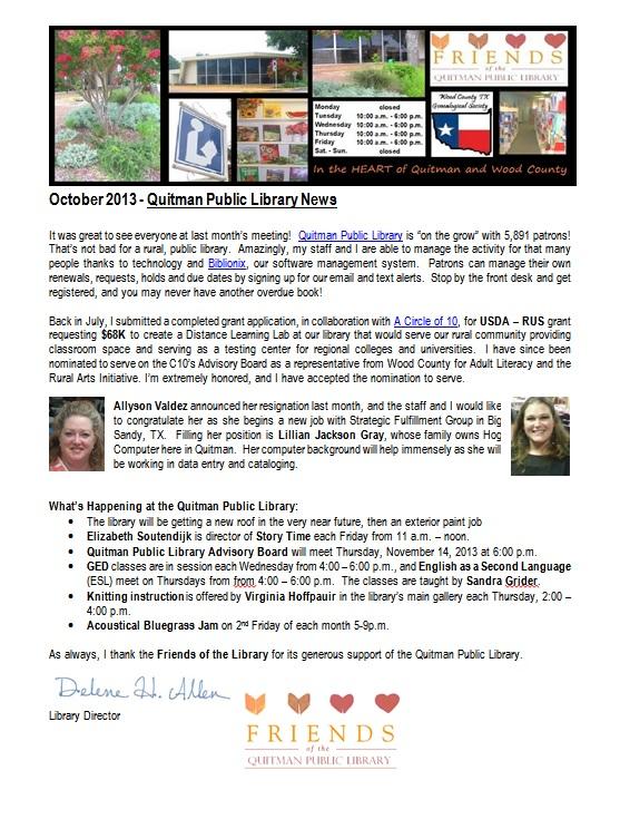 FOL Newsletter Oct2013